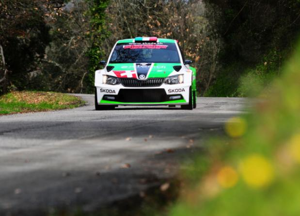 WITH THE NEW ŠKODA FABIA R5 AT THE START OF THE RALLY IL CIOCCO, FIRST RACE OF THE ITALIAN CHAMPIONSHIP